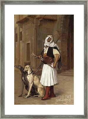 Anaute Avec Deux Chiens Whippets, 1867 Framed Print by Jean Leon Gerome