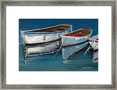 Anchored Reflections II Framed Print by Sharon Kearns