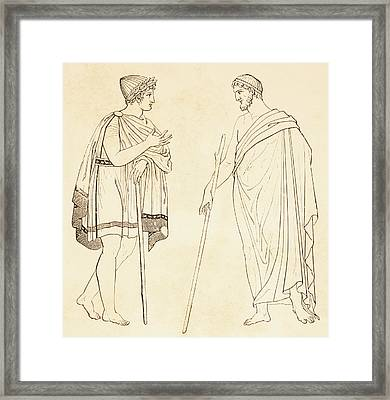 Ancient Athenians Exchanging Framed Print by Vintage Design Pics