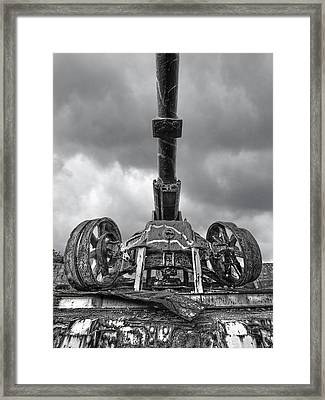 Ancient Cannon In Black And White Framed Print by Gill Billington