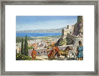 Ancient Corinth Framed Print by Roger Payne