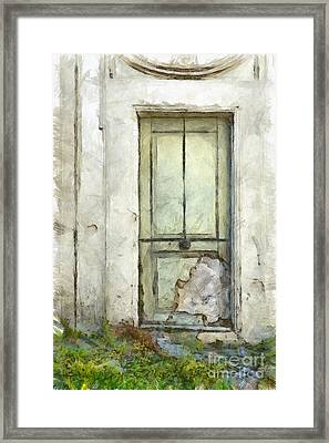 Ancient Doorway Rome Italy Pencil Framed Print by Edward Fielding