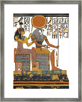 Ancient Egyptian Gods Hathor And Re Framed Print by Ben  Morales-Correa