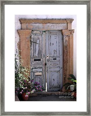 Ancient Garden Doors In Greece Framed Print by Sabrina L Ryan