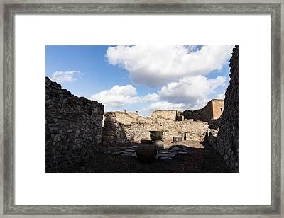 Ancient Pompeii - A Bakery In The Deep Shadows Framed Print by Georgia Mizuleva