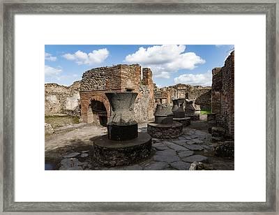 Ancient Pompeii - Bakery Of Modestus Millstones And Bread Oven Framed Print by Georgia Mizuleva