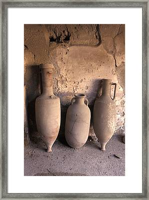 Ancient Wine Clay Vases  In A Wine Framed Print by Richard Nowitz