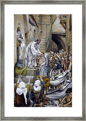 And All The City Was Gathered Together At The Door Framed Print by Tissot