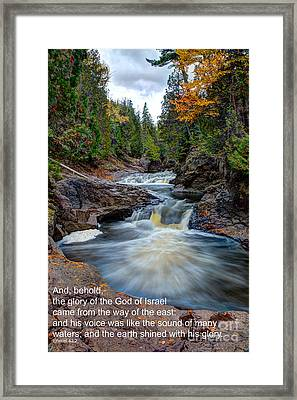 And His Voice Was Like The Sound Of Many Waters Framed Print by Wayne Moran