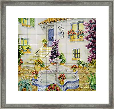 Andalusian Patio Framed Print by Jose Angulo
