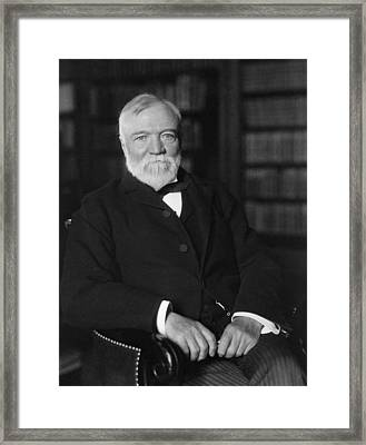 Andrew Carnegie Seated In A Library Framed Print by War Is Hell Store