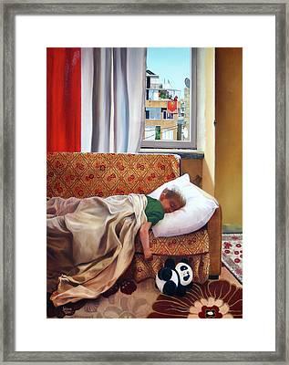 Andrew Sleeping Framed Print by Rebecca Giles