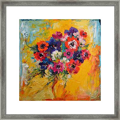Anemones Bouquet, Floral Painitng, Flowers, Oil Painting Framed Print by Soos Roxana Gabriela