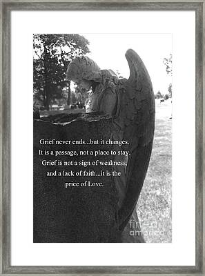Angel At Grave - Mourning Angel, Sad Angel Art, Grieving Cemetery Angel Decor - The Price Of Love Framed Print by Kathy Fornal