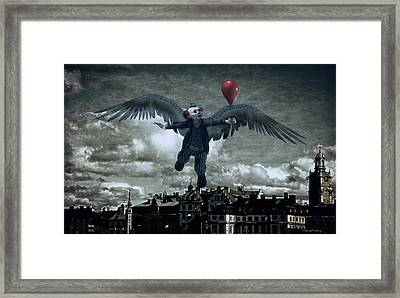 Angel Clown With Balloon Framed Print by Ramon Martinez