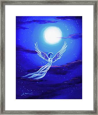 Angel In Blue Starlight Framed Print by Laura Iverson