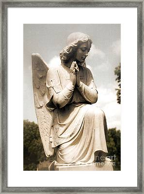 Angel In Prayer Kneeling - Guardian Angel Of Compassion Framed Print by Kathy Fornal