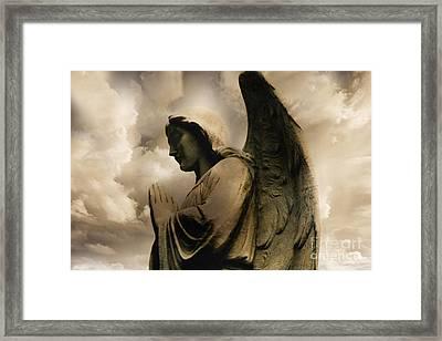 Angel Praying Spiritual Angel Art - Heavenly Angel Praying Hands Framed Print by Kathy Fornal