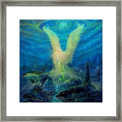 Angel Tarot Card Mermaid Angel Framed Print by Steve Roberts