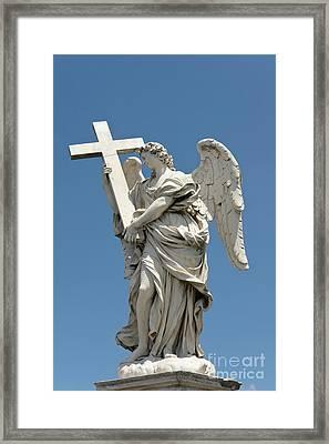 Angel With The Cross Framed Print by Fabrizio Ruggeri
