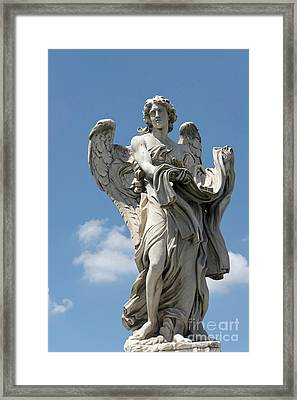 Angel With The Garment And Dice II Framed Print by Fabrizio Ruggeri