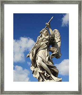 Angel With The Lance Framed Print by Leena Kewlani