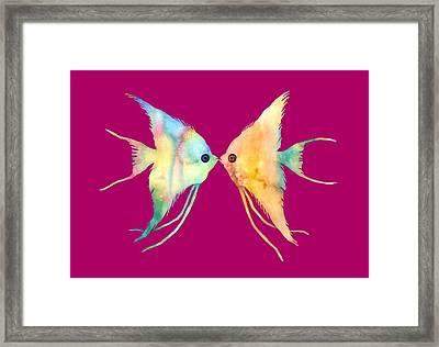 Angelfish Kissing Framed Print by Hailey E Herrera