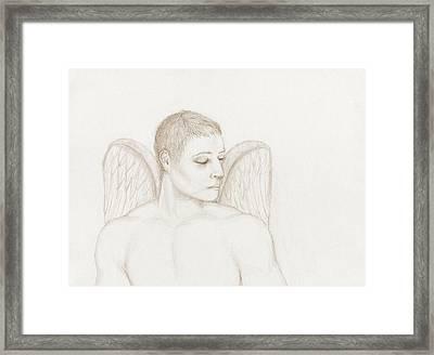 Angelic Gaze - Sepia Version Framed Print by Stevie the floating artist