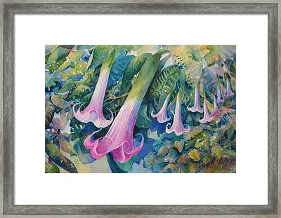 Angels Trumpets I Framed Print by Marilyn Young