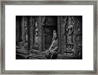 Angkor Wat Buddhist Monks Framed Print by David Longstreath