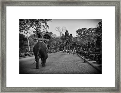 Angkor Wat Elephant Walk Framed Print by David Longstreath