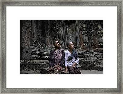 Angkor Wat Old Women 1 Framed Print by David Longstreath