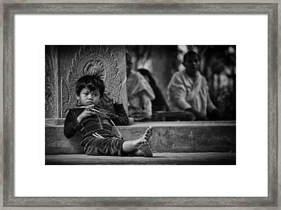 Angkor Wat Temple Boy 1 Framed Print by David Longstreath