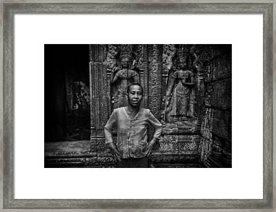 Angkor Wat Temple Nun Framed Print by David Longstreath