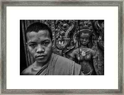 Angkor Watbuddhist Monk Portrait Framed Print by David Longstreath