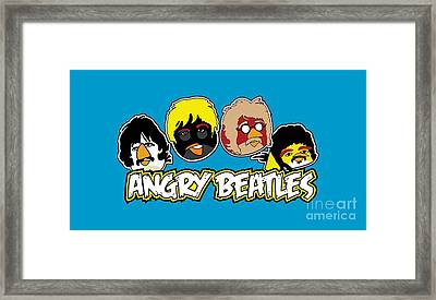 Angry Beatles - Angry Birds Angry Birds Parody Framed Print by Paul Telling