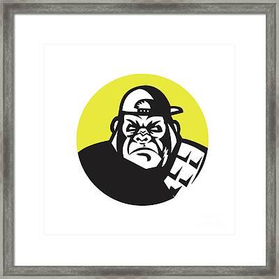 Angry Gorilla Head Baseball Cap Circle Retro Framed Print by Aloysius Patrimonio