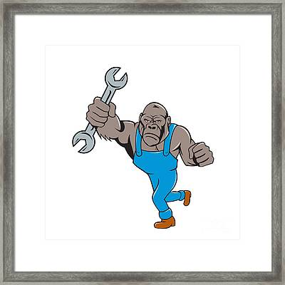 Angry Gorilla Mechanic Spanner Cartoon Isolated Framed Print by Aloysius Patrimonio