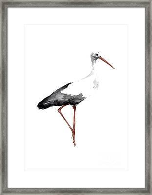 Drawing, Animal Bird, Stork Art Print, Watercolor Poster, Bird Painting, Kids Room Decor Framed Print by Joanna Szmerdt