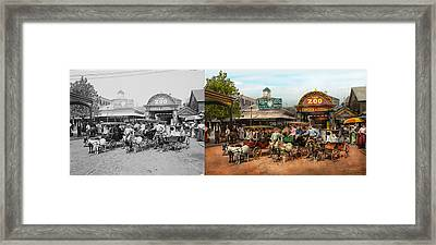 Animal - Goats - Coney Island Ny - Kid Rides 1904 Side By Side Framed Print by Mike Savad