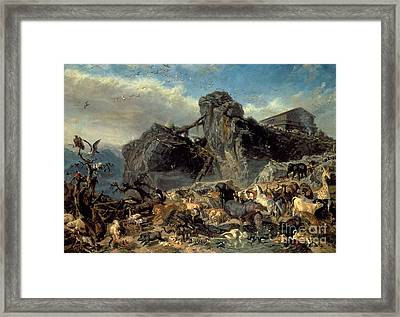 Animals Leaving The Ark, Mount Ararat  Framed Print by Filippo Palizzi