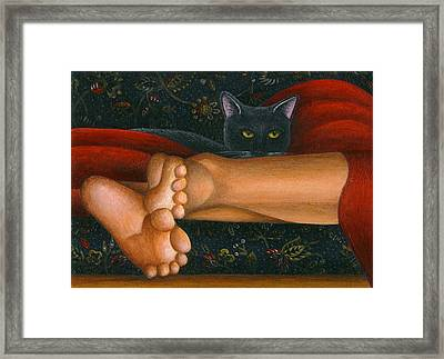 Ankle View With Cat Framed Print by Carol Wilson