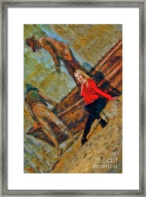 Annika Helmer With Fisherman Framed Print by Blake Richards
