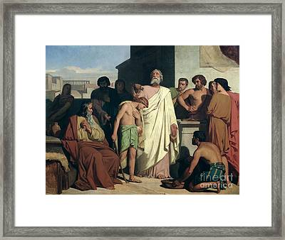 Annointing Of David By Saul Framed Print by Felix-Joseph Barrias