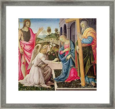 Annunciation With Saint Joseph And Saint John The Baptist Framed Print by Filippino Lippi