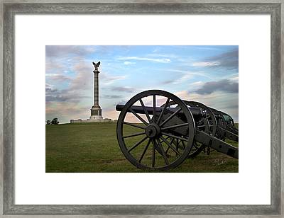 Antietam Cannon And Monument At Sunset Framed Print by Judi Quelland