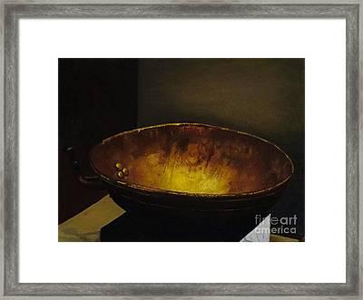 Antique Brass Bowl Framed Print by Mitzisan Art LLC