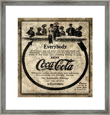 Antique Coca Cola Advertisement Framed Print by John Stephens