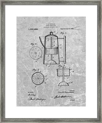 Antique Coffee Percolator Patent Framed Print by Dan Sproul