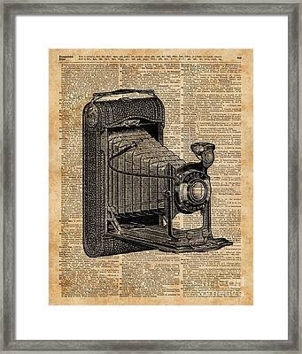 Antique Conley Camera,vintage Encyclopedia Book Page Framed Print by Jacob Kuch